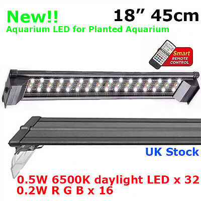 "Aquarium White Daylight Colour + Remote Led Fish Tank Tropical Plant 18"" 45Cm"