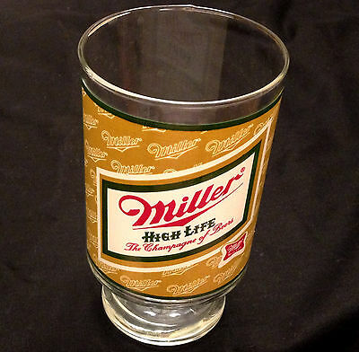 MILLER HIGH LIFE 32 oz. Large Beer Glass Mug Bar Ware Advertising Nice!! Vintage