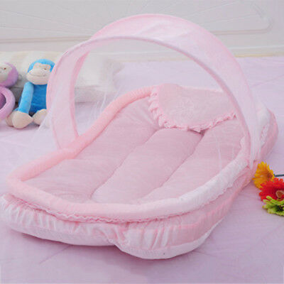 Newborns Mosquito Netting Foldable Baby Cot Canopy Cradle Tent Cushion Pillows