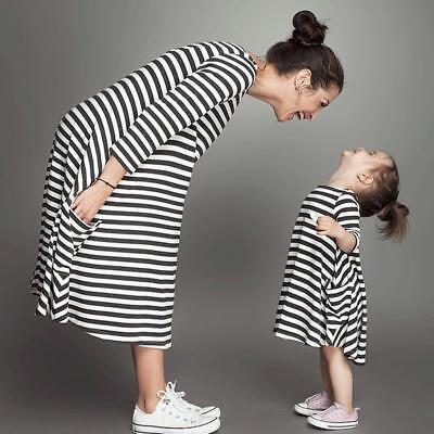 Family Outfits Clothes Mother Daughter Matching Dresses Women Girls stripe Dress