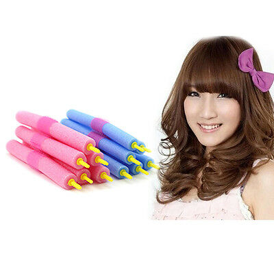 12 X DIY Soft Foam Curlers Makers Bendy Twist Curls Tool Styling Hair Rollers