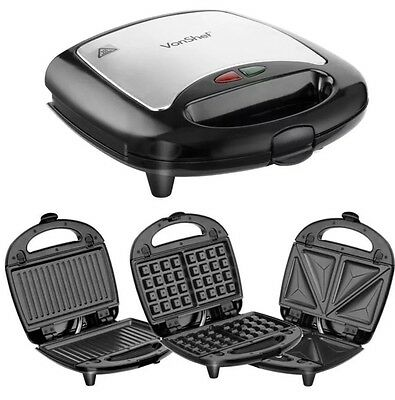 3 in 1 Non-Stick Sandwich Maker Toaster Waffle Iron Press & Grill 700W Kitchen