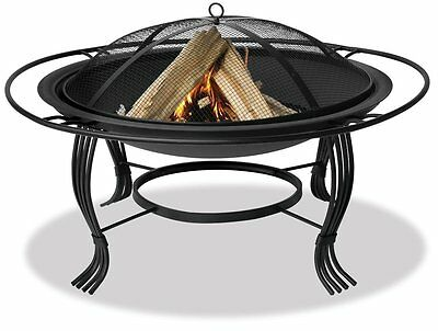 Uniflame Wad1050Sp 34.6-Inch Diameter Black Firepit with Outer Ring