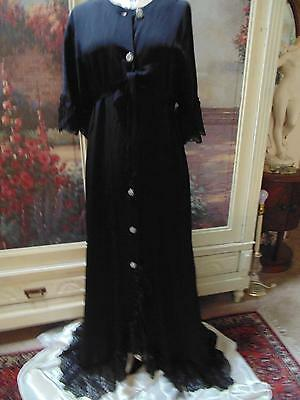 Hollywood Glamour 1930s Black Crepe Robe Lace Trim Dressing Gown One Size L