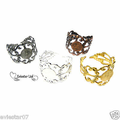 Filigree Ring Blanks Adjustable Ring Base With 8 mm Pad (11)