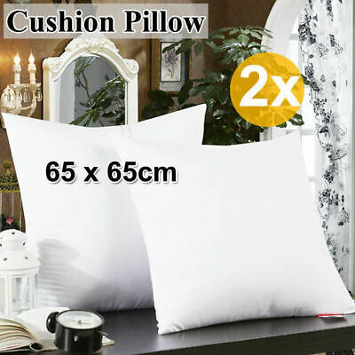2x New Brand Cushion Pillow Inserts Polyester Filling White High Quality 65x65cm
