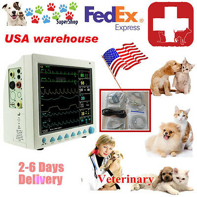 Patient Monitor Veterinary Vet  6 Parameter,ECG,NIBP,PR,Spo2,Temp,Resp,CE,FDA