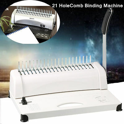 Professional Paper Comb Binding Machine 21 Hole  A4 Plastic Coil Punch Binder AU