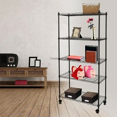 "14"" x 29"" x 61"" 5 Shelf Iron Steel Wire Shelving Storage Rack With Wheels"