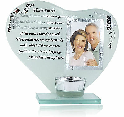 Memory Plaque Their Smile Her/His Smile Candle Photo Frame with Poem Remembrance