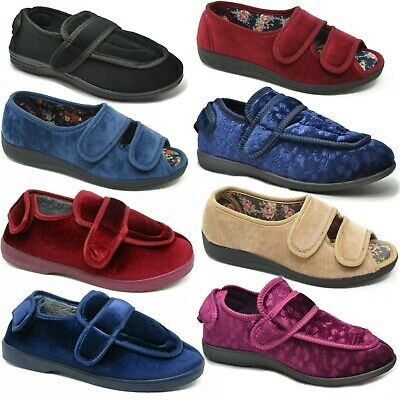 Ladies Womens Extra Wide Fit Diabetic Orthopaedic House Hard Sole Slippers