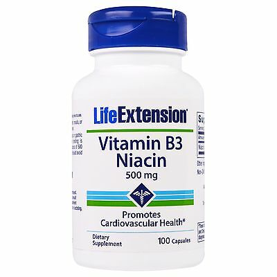 Life Extension, Vitamin B3 Niacin, 500mg, 100 Kaps.