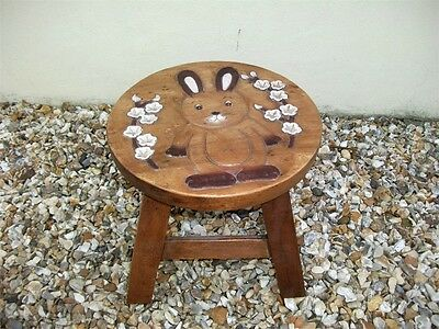 Pretty Child's Wooden Bunny Rabbit Stool; Lovely carved design!