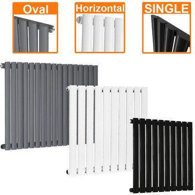 Horizontal Designer Oval Column Single Panel Radiators Black White Anthracite