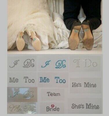 I Do Me Too Rhinestone Bride Groom Shoes Wedding Sticker Diamante Crystal Decal