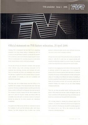 TVR Newsletter Issue 1 2006 UK Market Brochure Tuscan Sagaris Cerbera