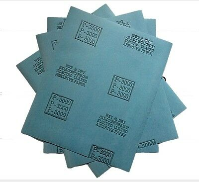 10 Sanding Sheets Wet/Dry Silicon Carbide Waterproof Sandpaper 9x11 3000 Grit