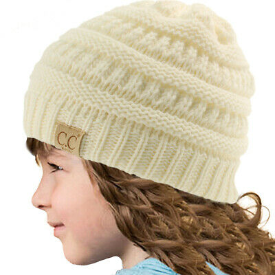 Kids CC Ages 2-7 Warm Chunky Thick Stretchy Knit Slouch Beanie Skull Hat