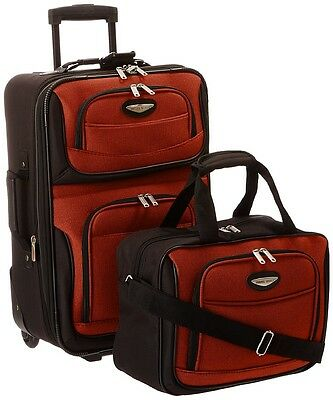 Traveler's Choice Travel Select Amsterdam Two-Piece Carry-On Luggage Set, Orange