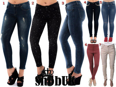 Women Denim Jeans Jegging 6 New Style Ripped Dimonted High Waist Black Blue Jean