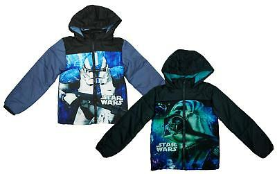 Boys Coat Hooded Padded Jacket Star Wars Darth Vader Storm Trooper 4 to 10 Years