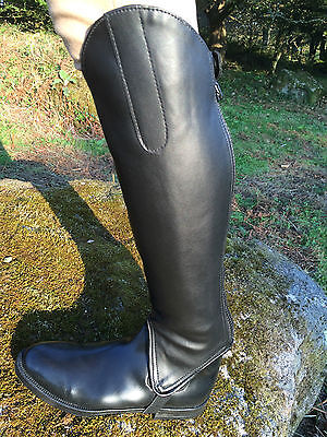 Synthetic Equi Leather Horse Riding Half chaps/Gaiters Blk Short & Standard leg