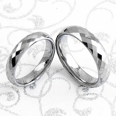 Tungsten Two Ring Set Multi-Faceted Wedding Band His & Hers Engraving Available