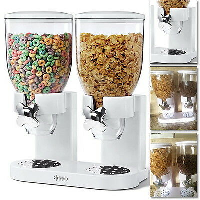 Cereal Dispenser Double Dry Food Canister Dual Portion Control Kitchen Storage