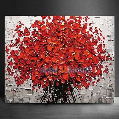 """16""""x20"""" Red Flowers Oil Painting Home Decor DIY Paint By Number Kit On Canvas"""