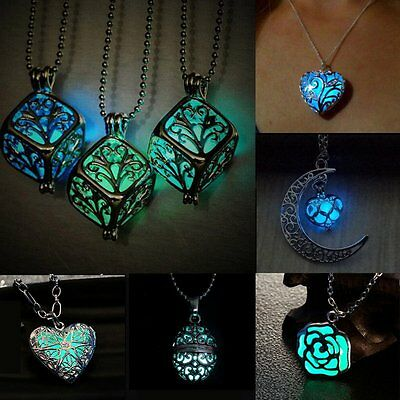 Magic Steampunk Round Fairy Locket Glow In The Dark Pendant Necklace Women Xmas