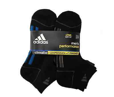 Adidas Men's Climalite Socks Low Cut Sport Cushioned - 6 Pack.Size 6-12