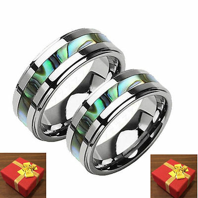 Tungsten Two Ring Set Wedding Bands Abalone Inlay Couples Engraving Avaiailable