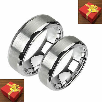 Silver Tungsten Wedding Band Two Ring Set Brushed Finish His & Her's Size 5-14