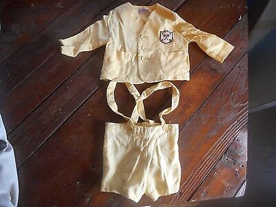 * Vintage 1950's Danny Dare Yellow Toddler's Size 1 Outfit Shirt & Shorts Set *