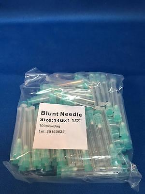 "100 Blunt Dispensing Needles Syringe Blunt Tip Needle 14 Ga 1 1/2"" Luer Lock1.5"""