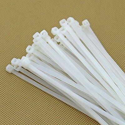 50PCS 4x200MM WHITE NYLON CABLE TIES / ZIP TIES FOR FASTENING CABLES & WIRES
