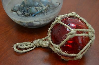 "Reproduction Red Glass Float Ball Buoy With Fishing Net 4"" #f-508"