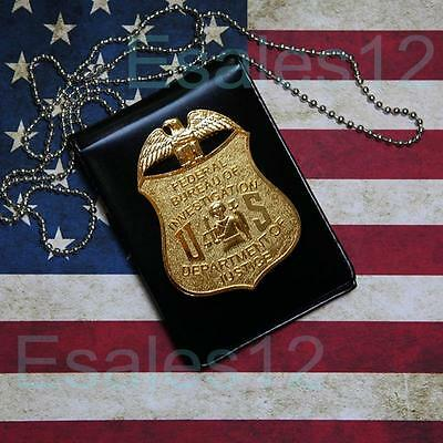 USA FBI Police CIA DS Special Agent Badge Card Office ID Holder Chain Collection