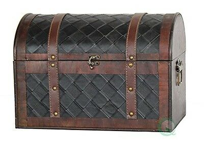 Vintiquewise Wooden Leather Treasure Chest, Brown