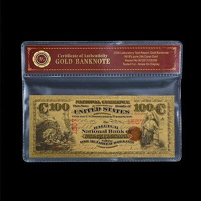 1875 $100 US National Currency Edition Colored 24k Gold Foil Banknote /w Sleeve