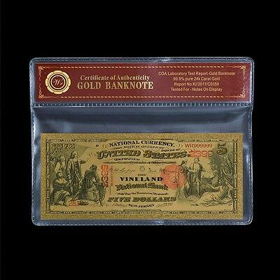 1875 $5 US National Note Vineland Fine Pure Gold Plated Banknote Free COA Sleeve