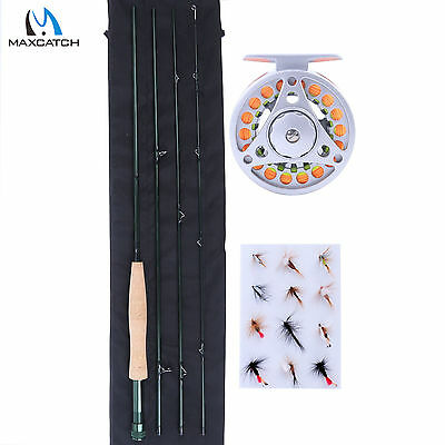 Fly fishing rod and reel combo 8''4 3WT rod reel fly lines flies backing starter