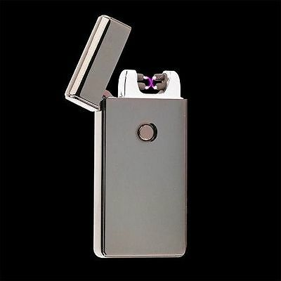 Gunmetal Dual Arc Electric USB Lighter Rechargeable Flameless Windproof Plasma