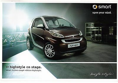 Smart ForTwo Coupe Edition Highstyle Limited Edition 2009 UK Market Brochure