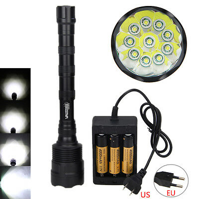 30000LM10X XM-L T6 Tactical LED Caza Linterna Antorcha 18650 Monte Pistola