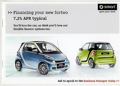 Smart ForTwo Finance Options Late 2010 UK Market Brochure Coupe Cabriolet