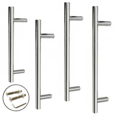 Guardsman LARGE DOOR PULL HANDLE Stainless Steel T Bar Straight Bolt Fixing 19mm