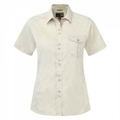 Craghoppers Womens Ladies Kiwi Short Sleeve Walking Hiking Shirt in Almond White