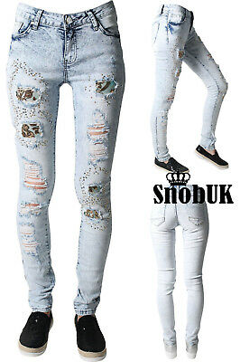 Skinny Jeans Distressed Stretch Denim Ripped Slashed Lace Womens Ladies Size