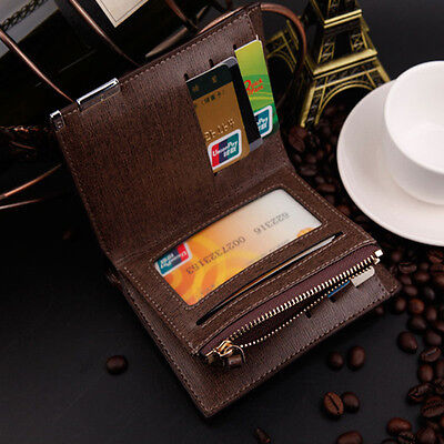 Portable Mini Mens Purse Solid Black Quality Leather Wallet Credit Card Holder